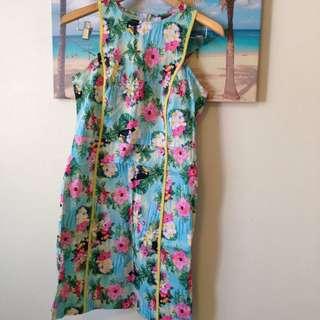 Hawaiian Retro Rockabilly Knee Length Dress