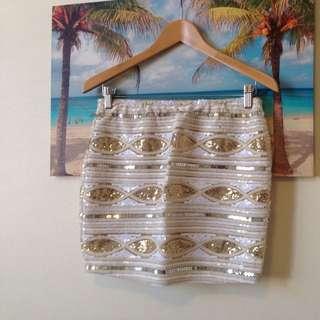 Gingham&heels Sequinned Mini Skirt
