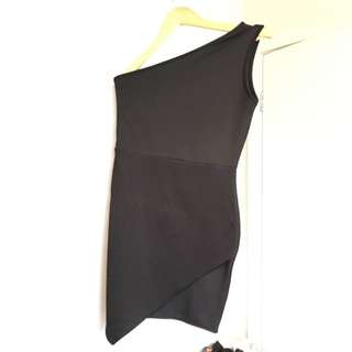 One Shoulder Black Mini Dress - M