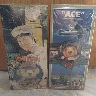 "Dutch Shell Salesman & ""Ace"" Texaco Flying Pioneer Teddy Bears (Vintage collectibles)"