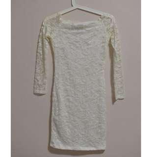 ASOS Off-shoulder bodycon lace dress in cream colour