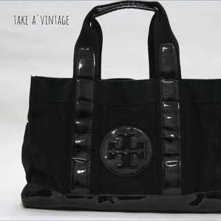 TORY BURCH Canvas/Patent Tote