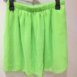 Neon Green Chiffon Skirt