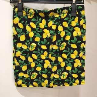 Black Lemon Patterned Skirt
