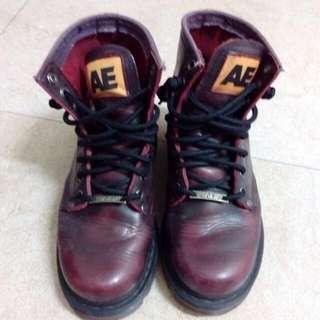 限量特賣★ AE正版酒紅色真皮中筒靴