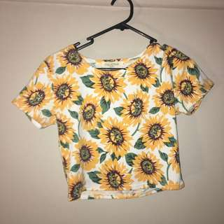 SET Womens Sunflower Crop top and Skater Skirt Set