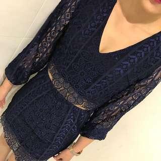 深藍蕾絲性感洋裝