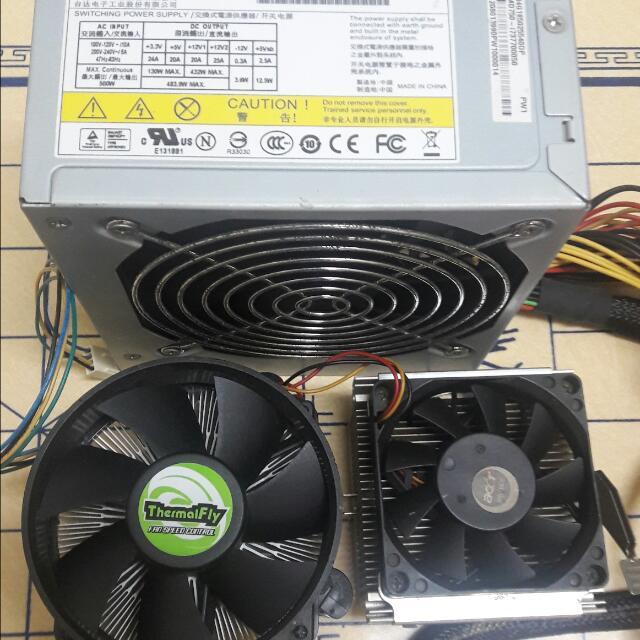 500watts Power Supply+2 Cpu Fan