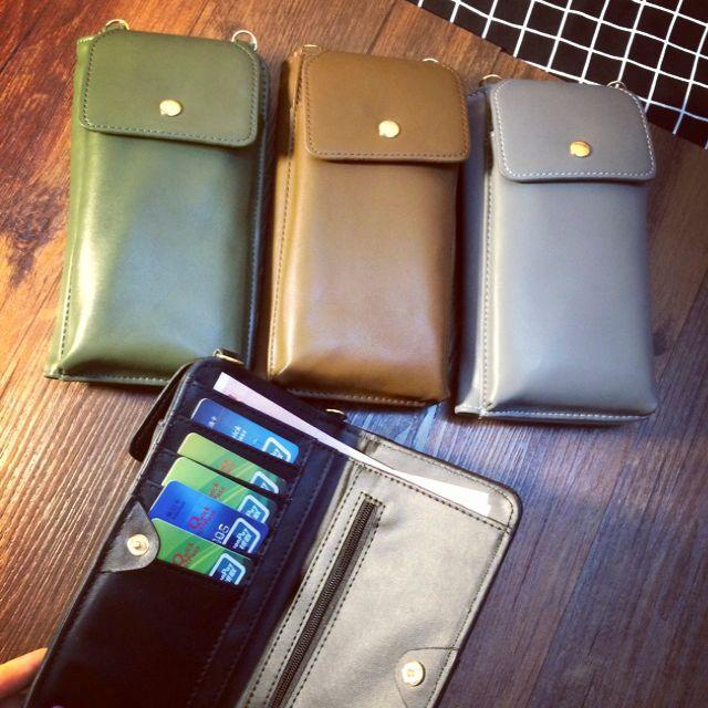 頸掛包手機包斜背包肩背包-深綠色款墨綠色亞麻綠