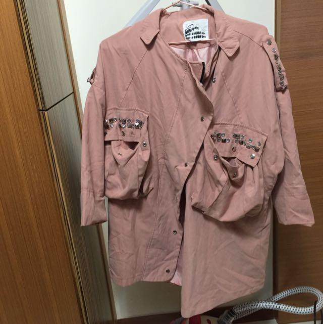 粉色韓版寬鬆外套