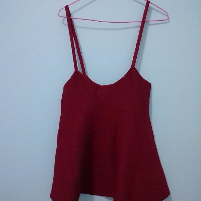 全新厚針織紅色吊帶洋裝