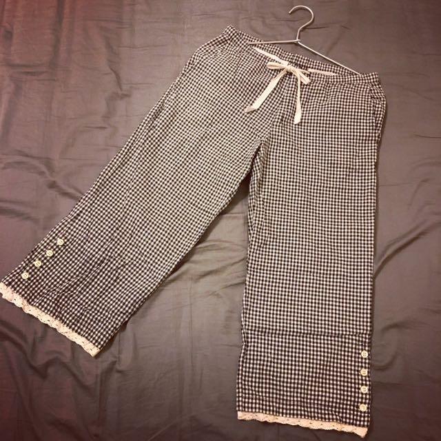 「免運」日本無印良品風格、鄉村風黑白格子褲