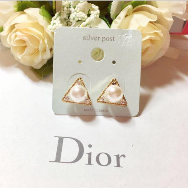 韓國🇰🇷 璀璨名媛三角形珍珠水鑽耳環(金色)