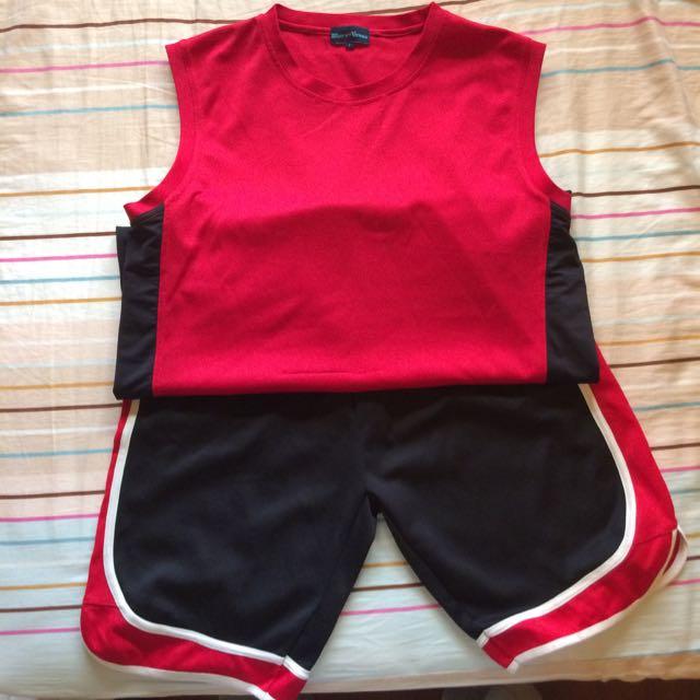 紅色素面球衣褲(套)