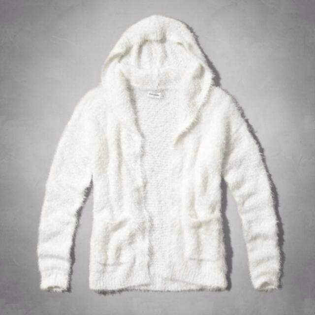 九成新a&f kids白色開襟針織外套