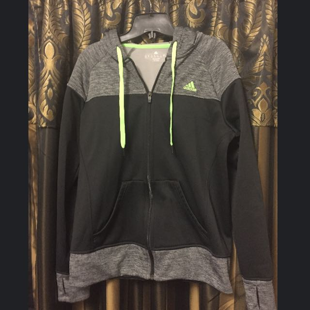 Black And Grey Adidas Zip Up Hoodie