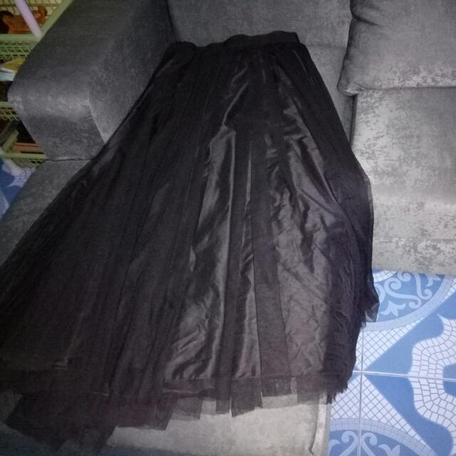 Black Long Ball Gown Skirt