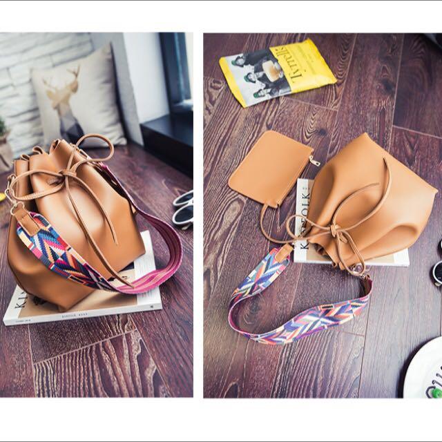 Brown Double Straps Shoulder Bag