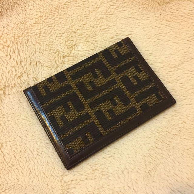 【正品】FENDI 經典緹花滿版FF LOGO護照夾