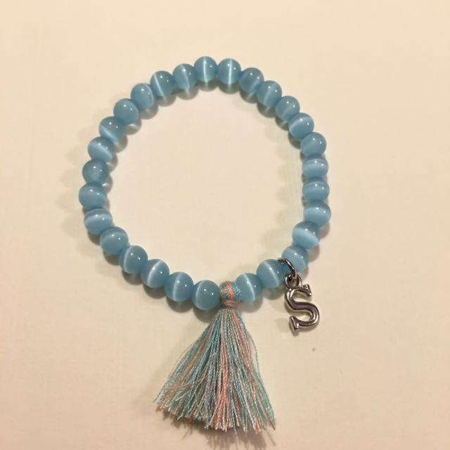 Handmade Beaded Bracelet With Customize Charm Cat Eye Blue Beads 4mm