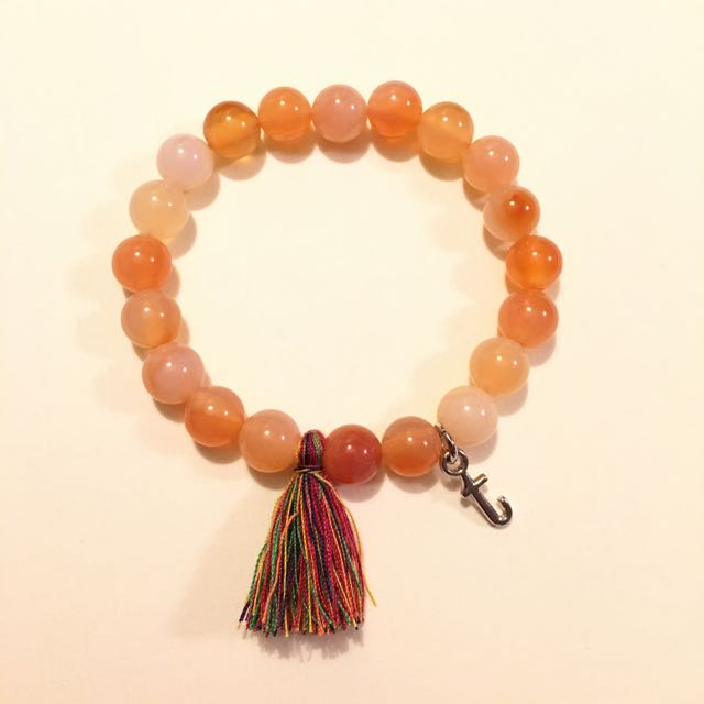 Handmade Beaded Bracelet With Customize Charm Orange Beads 8mm