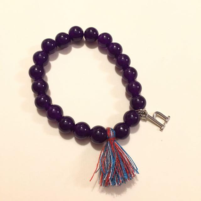 Handmade Beaded Bracelet With Customize Charm Purple Beads 8mm