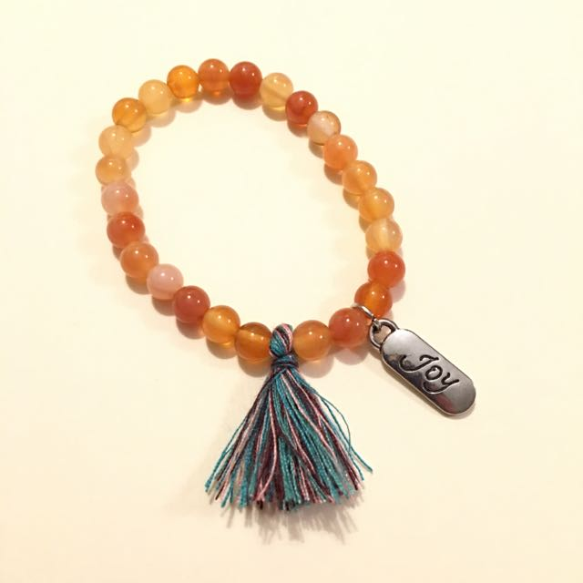 Handmade Beaded Bracelet With Tassel And Customize Charm Orange Beads 4mm