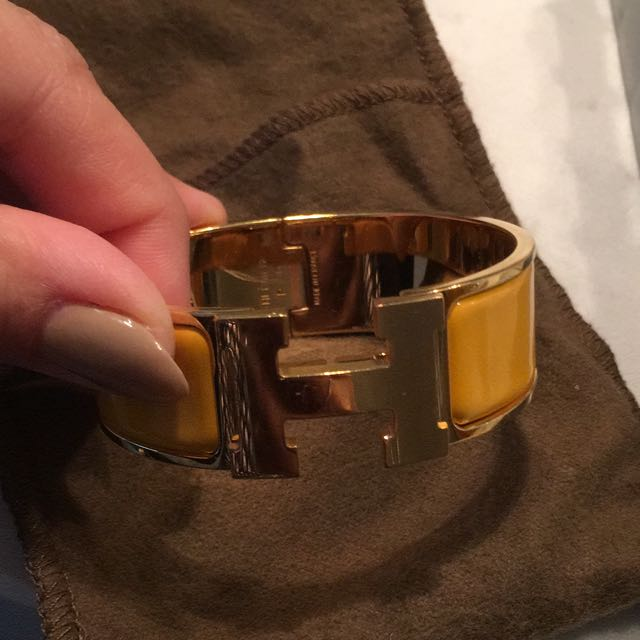 Hermes Clic Calc Bracelet With Gold Hardware