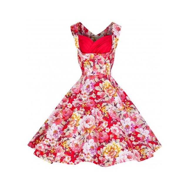 Lindy Bop 50s Red White Floral Dress