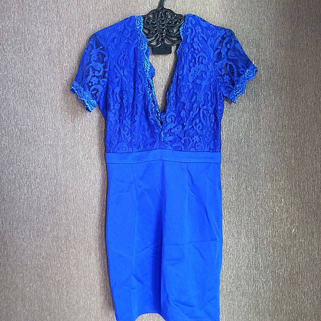 MISSGUIDED Dark Blue Lace zip Dress