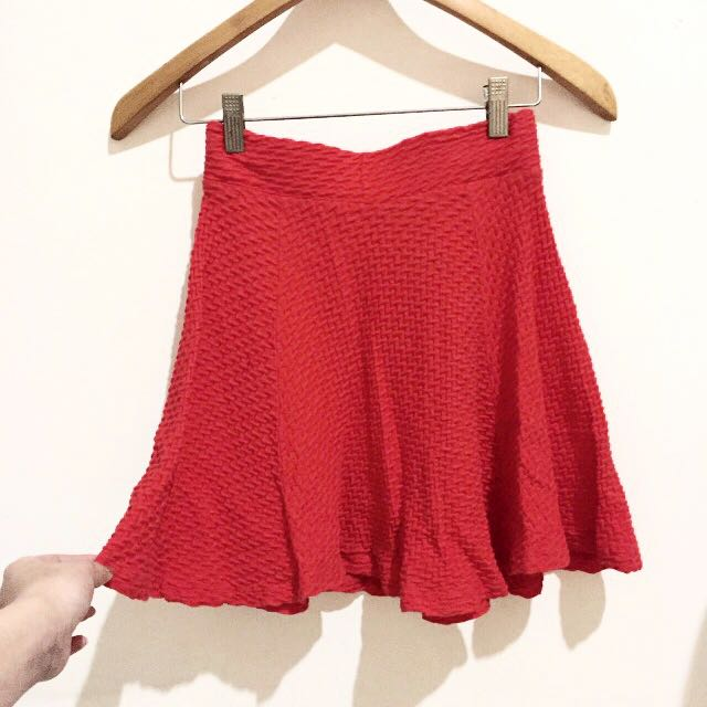 New Red H&M Flare Skirt