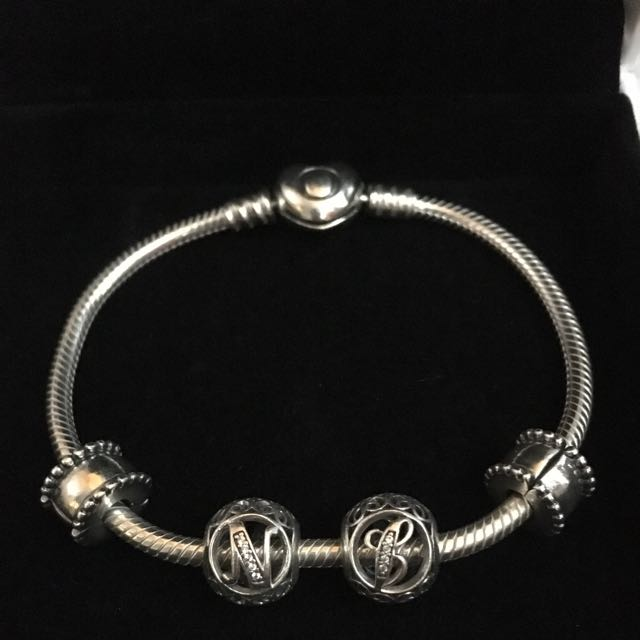 Pandora Bracelet With Two Charms & Two Clips