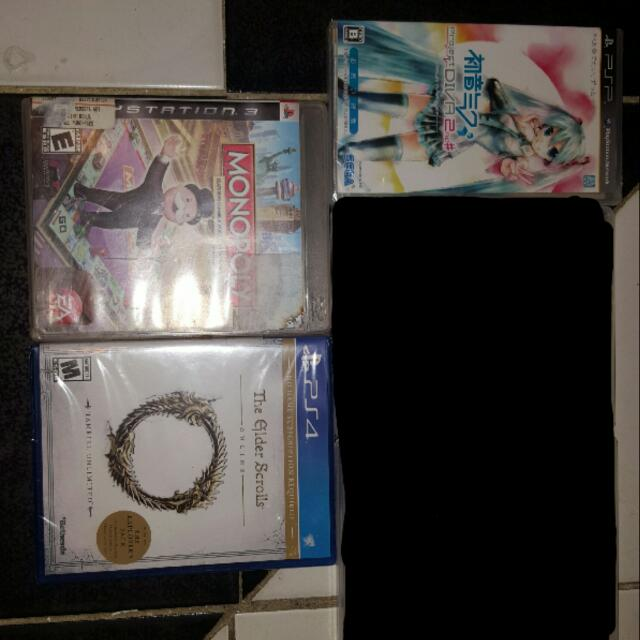Project Diva Japanese Ver.(psp), Elder Scrolls Online(ps4), And Monopoly (Ps3)
