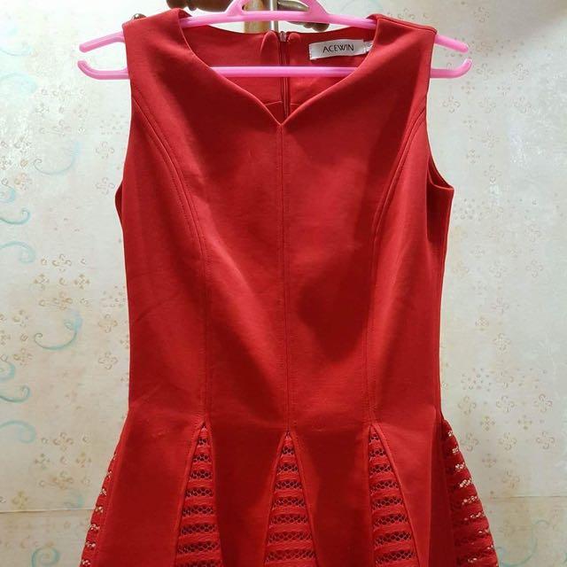 Red Sleeveless Dress-Size 8