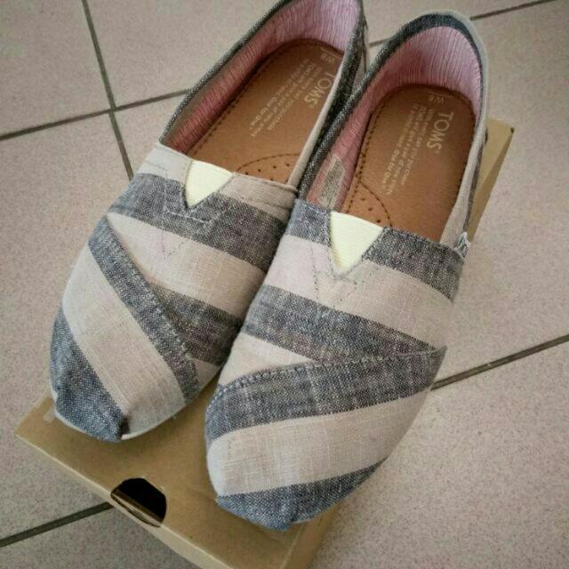 Toms經典條紋懶人鞋-黑-女w6