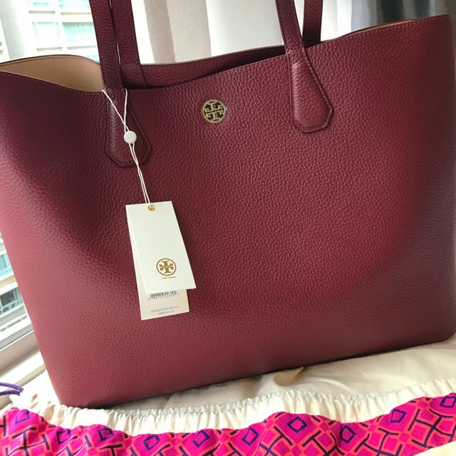 Price Reduced Tory Burch Perry Tote 1 Replica Burgundy Red Women S Fashion Bags Wallets On Carou