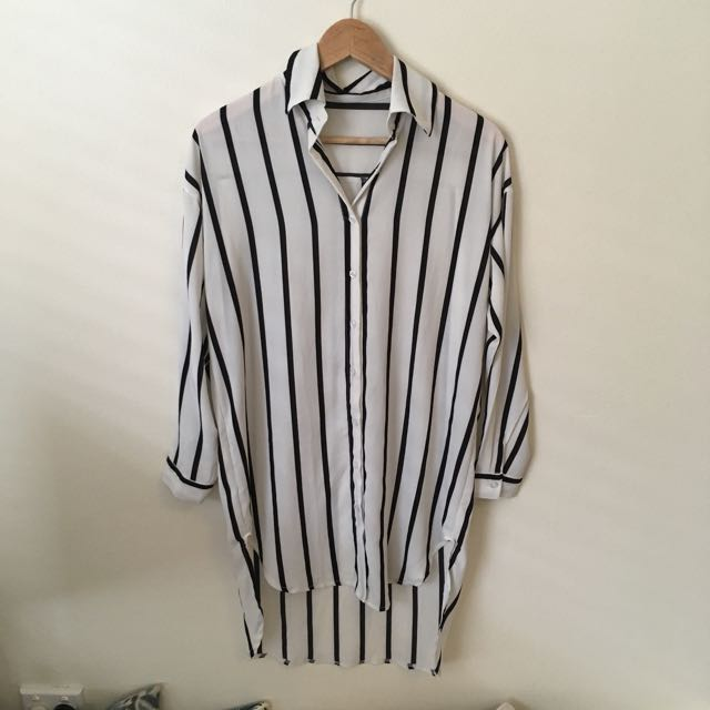 Vertical Stripe Black& Off White Shirt Dress