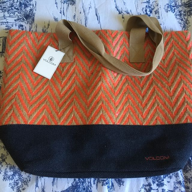 Volcom Beach Bag Orange, Beige&nnavy Colour