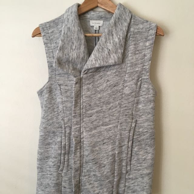 Witchery Vest Grey Top With Zip And Collar