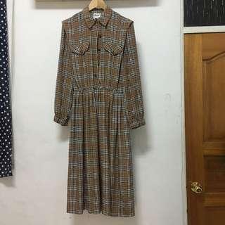 咖啡格紋古著洋裝