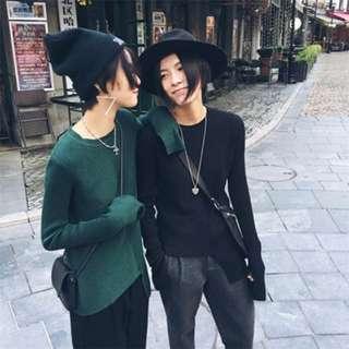 設計 秋冬極簡袖口開叉不規則 顯瘦  不對稱 紋理 針織 打底衫 綠