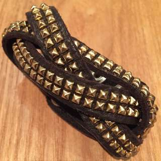 Brown Leather Cuff With Gold Studs
