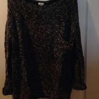 Black/grey Long Sweater