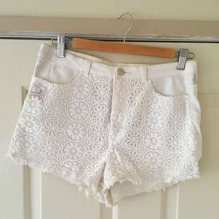 H & M White Crochet Denim Shorts