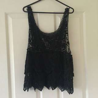 Black Crochet Singlet Top