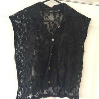 Sports girl Black Lace Collar Crop XXS