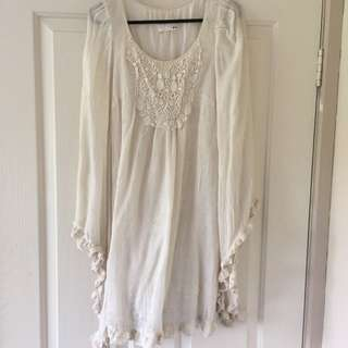 Cream Boho Bell Sleeved Top/dress