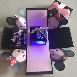 Diy Tsum Mickey & Minnie Christmas  Explosion Box With Lighthouse In Black& Pink
