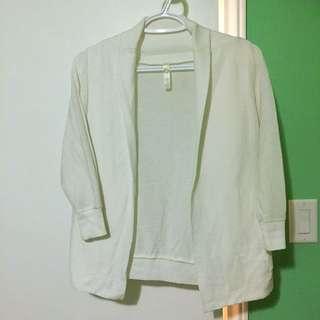White Cardigan Quarter Sleeve