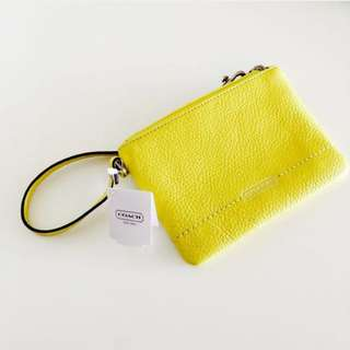 Authentic Coach Wristlet in Chartreuse